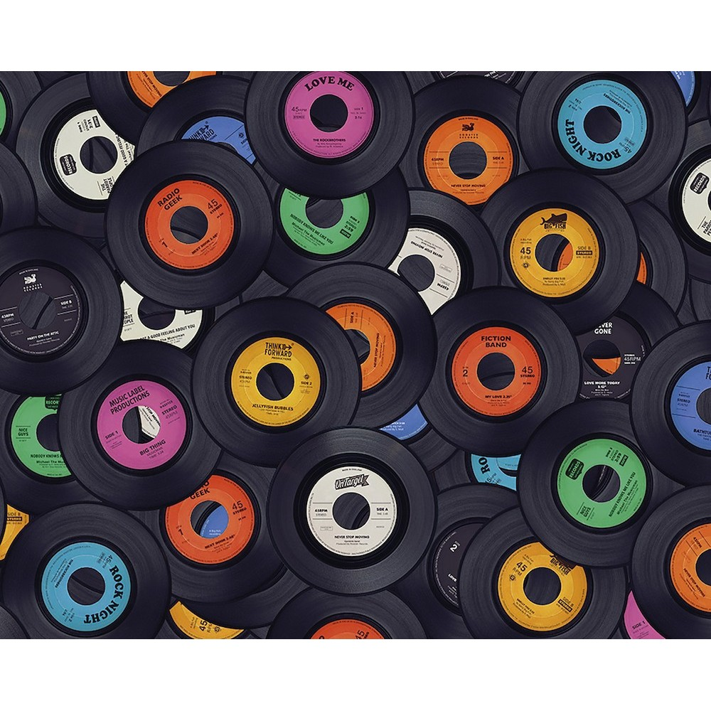 WALS0320   Ohpopsi Wallpaper Mural 45 Records Vinyl Music 1000x1000