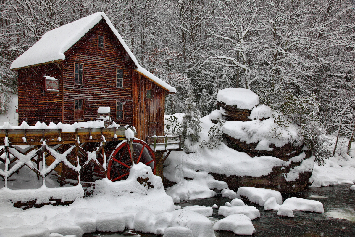winter snow falling glade creek gristmill picture postcard pub1 Forest 1200x800