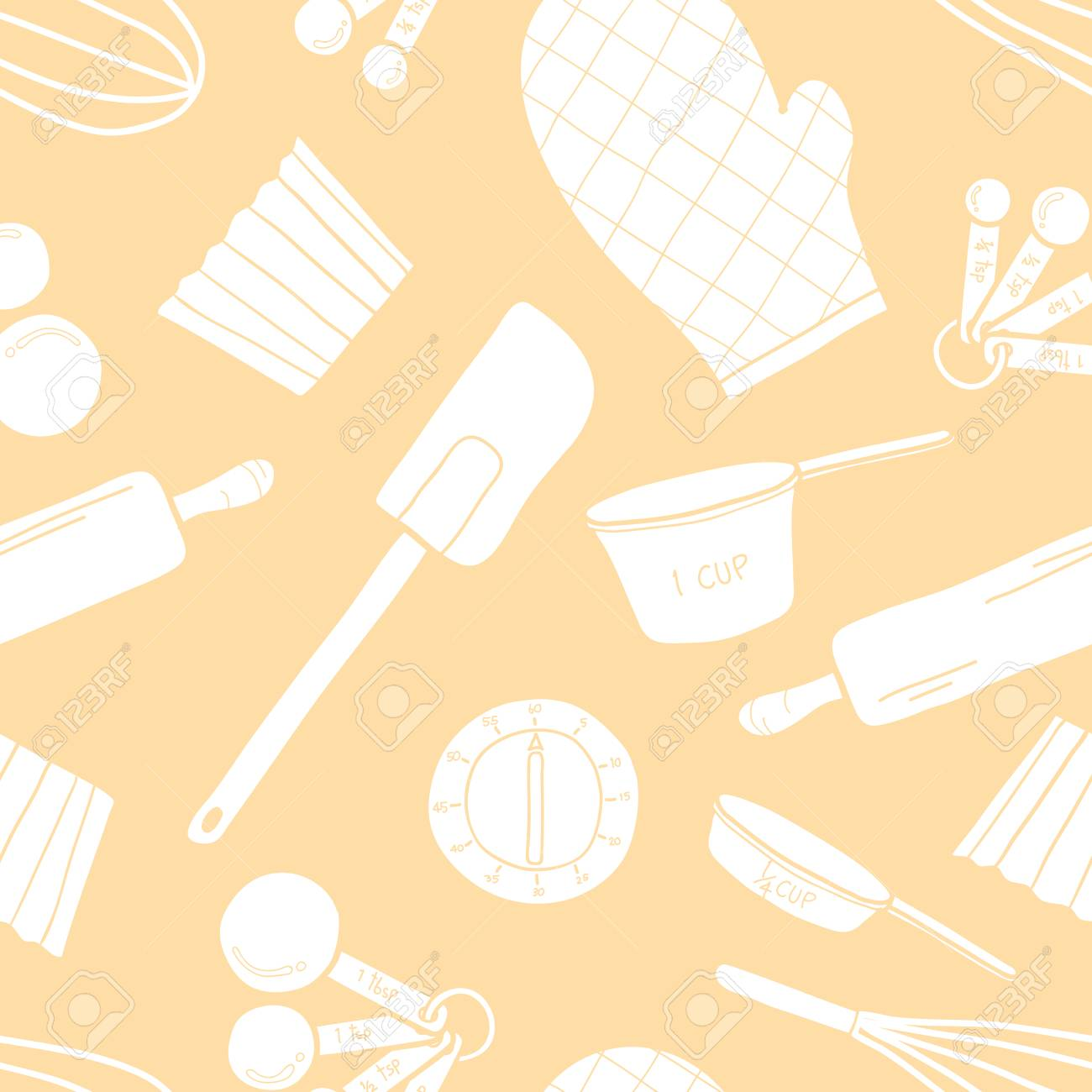 Seamless Pattern Of Baking Tools In White Silhouette Random On 1300x1300
