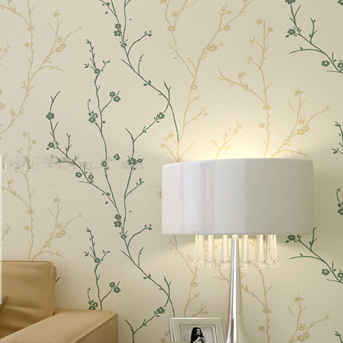 Classic Flock Textured Wallpaper Embosser Solid Tree Leaf Wall Paper 500x500