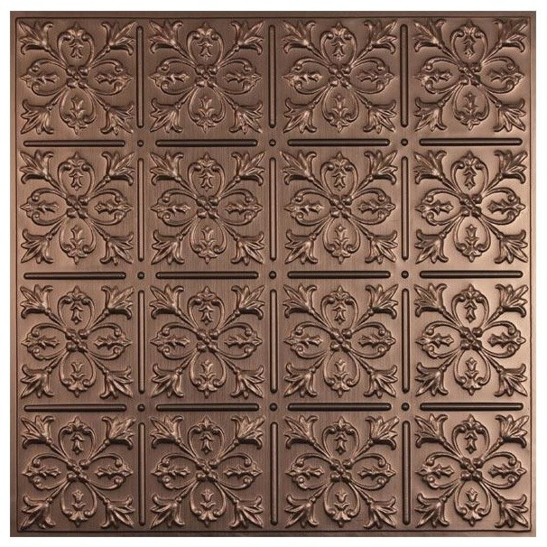 Fleur de lis Ceiling Tile   Faux Bronze traditional ceiling tile 606x606
