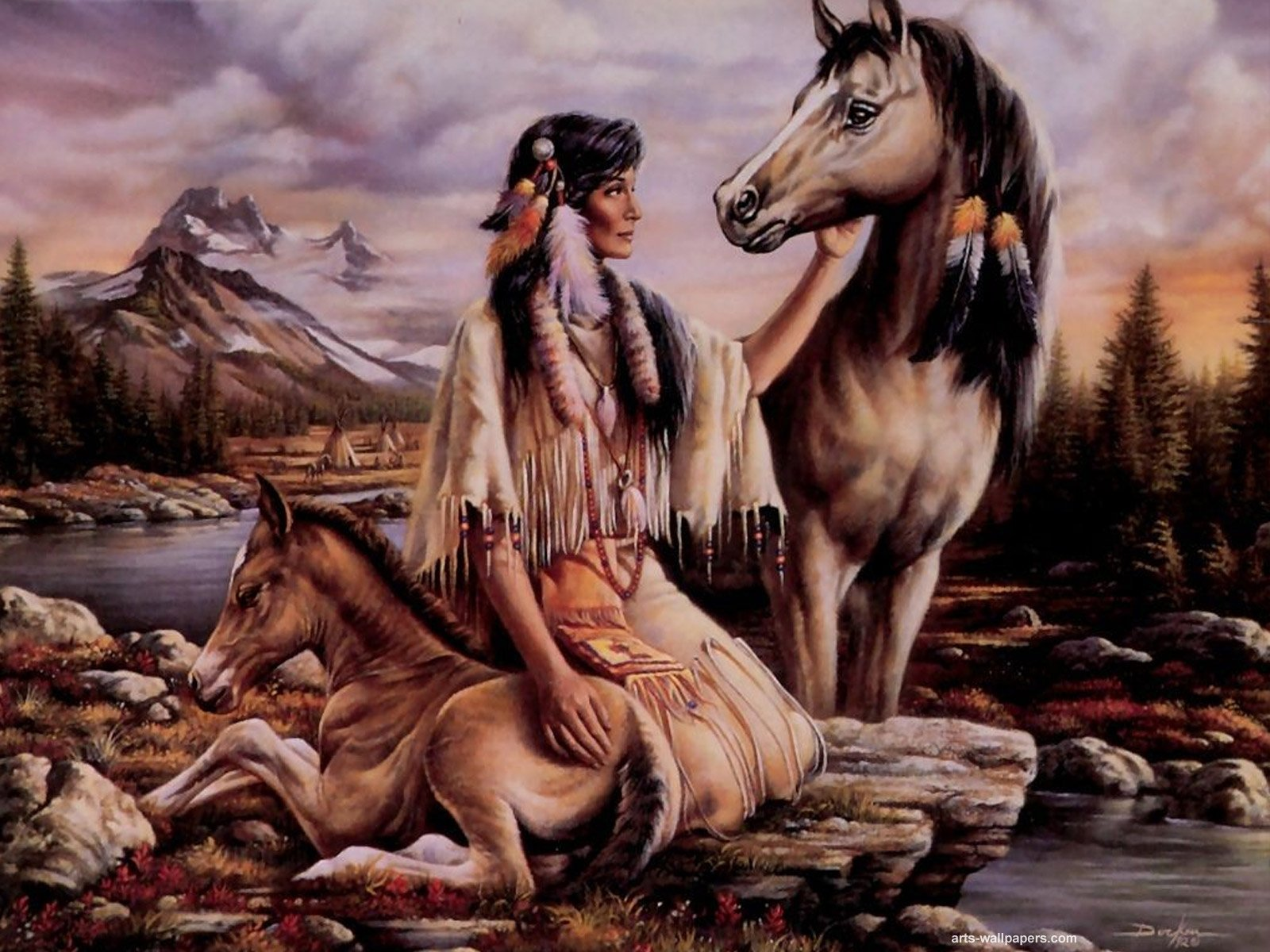 Native American Wallpapers Paintings Painting Art Print Wallpaper 1600x1200