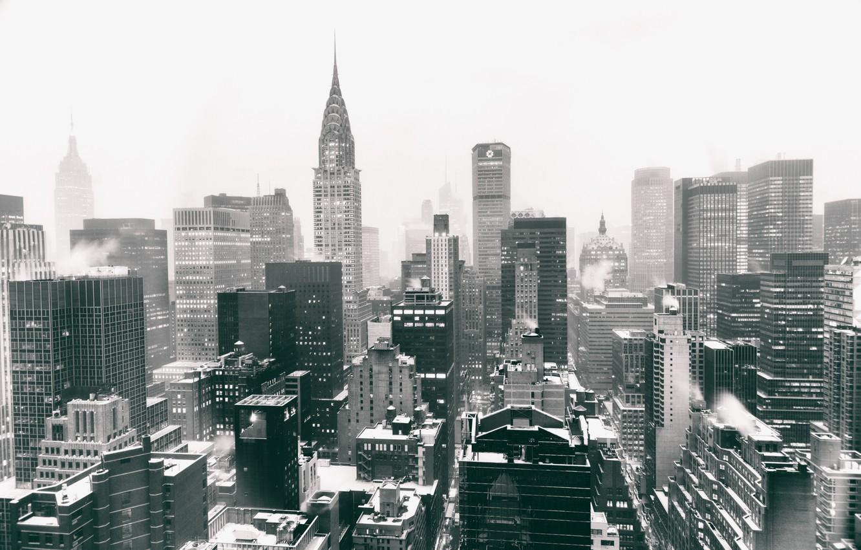 Wallpaper USA United States Winter Manhattan NYC Snow New 1332x850