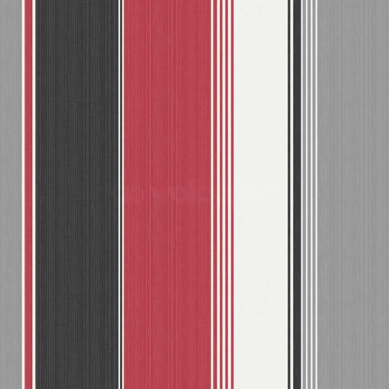Debona Stripe Red Black Silver Wallpaper 30296 800x800