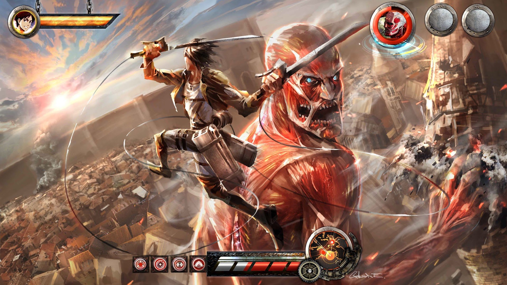 Attack On Titan Iphone Wallpaper 1080p Eren vs colossal titan video 1920x1080