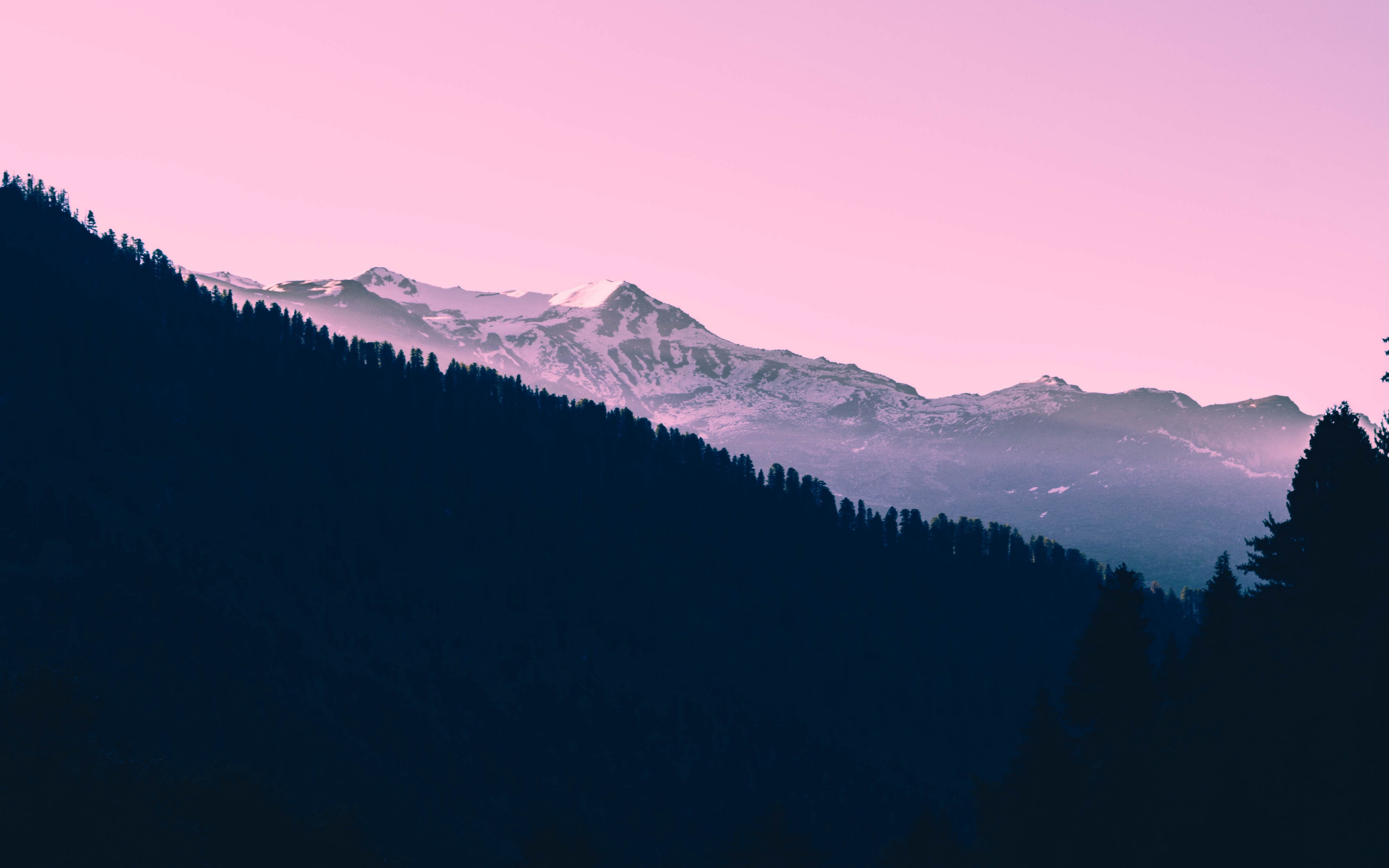 Wallpaper Mountains Sunset Trees Sky Pink   Hd Wallpaper 3840x2400