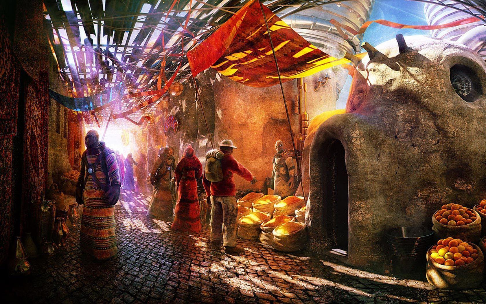 Desktop Wallpaper s Fantasy Space Traveler on Alien Market 1680x1050