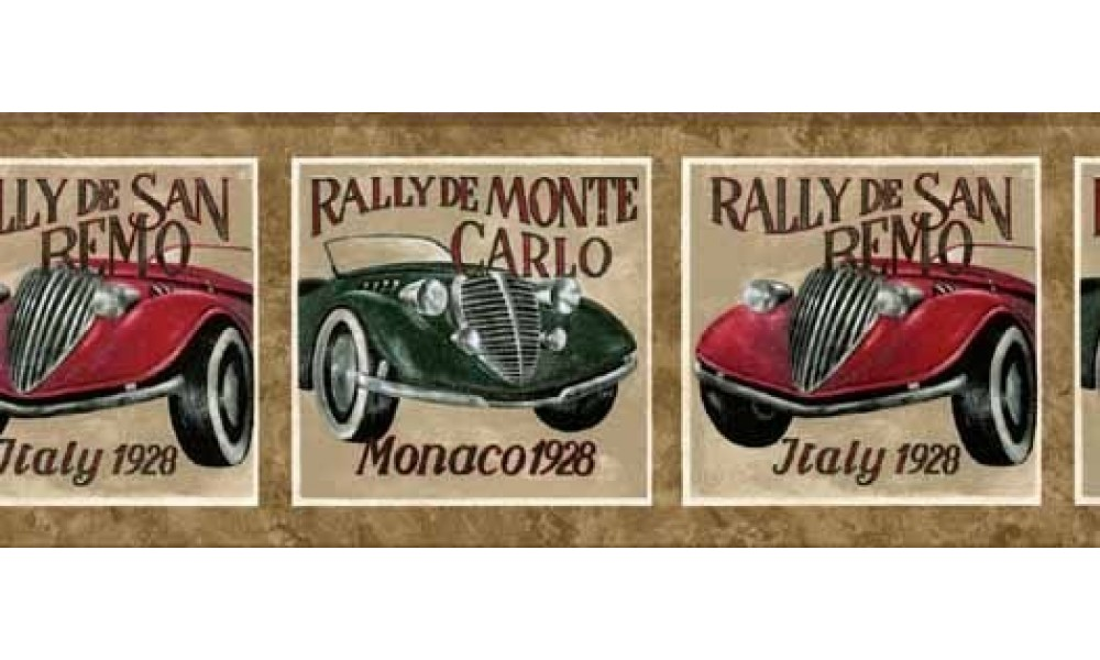 Home Brown Framed Vintage Cars Wallpaper Border 1000x600