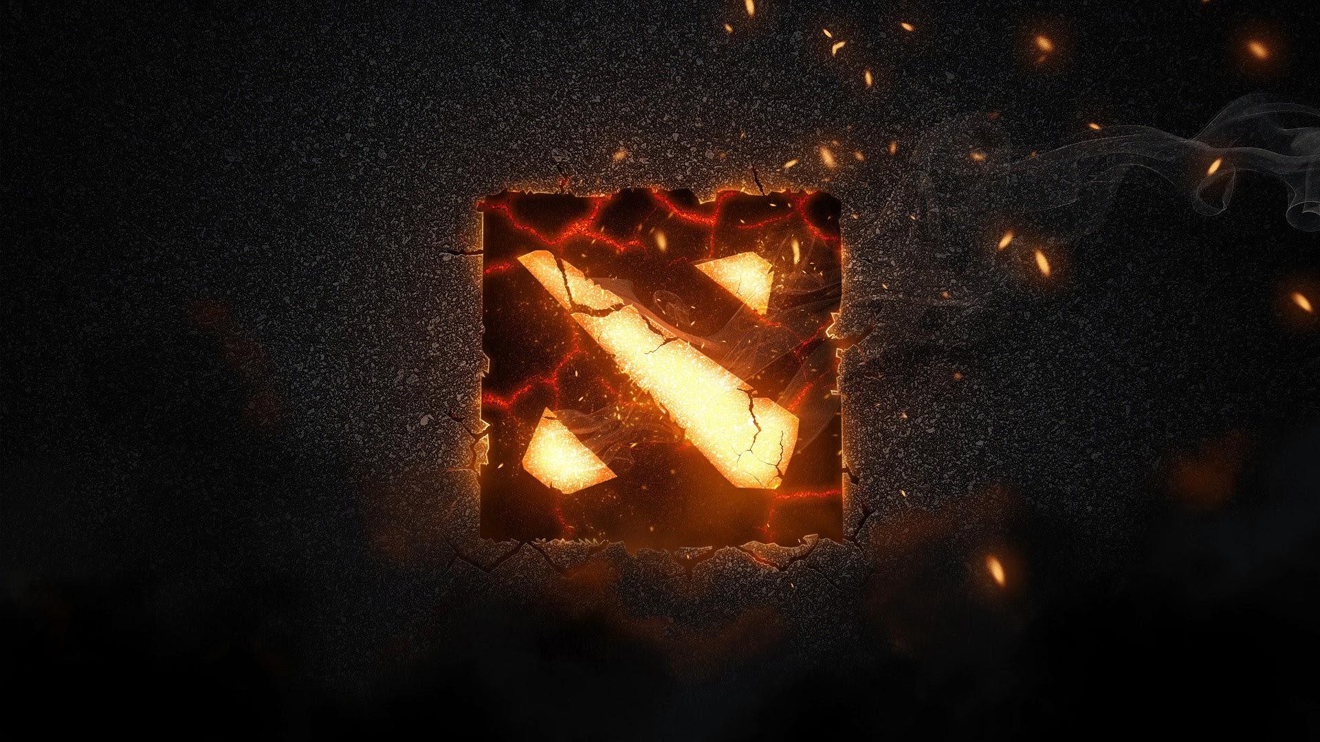 Epic DOTA 2 Flaming Logo a42 HD Wallpaper 1920x1080