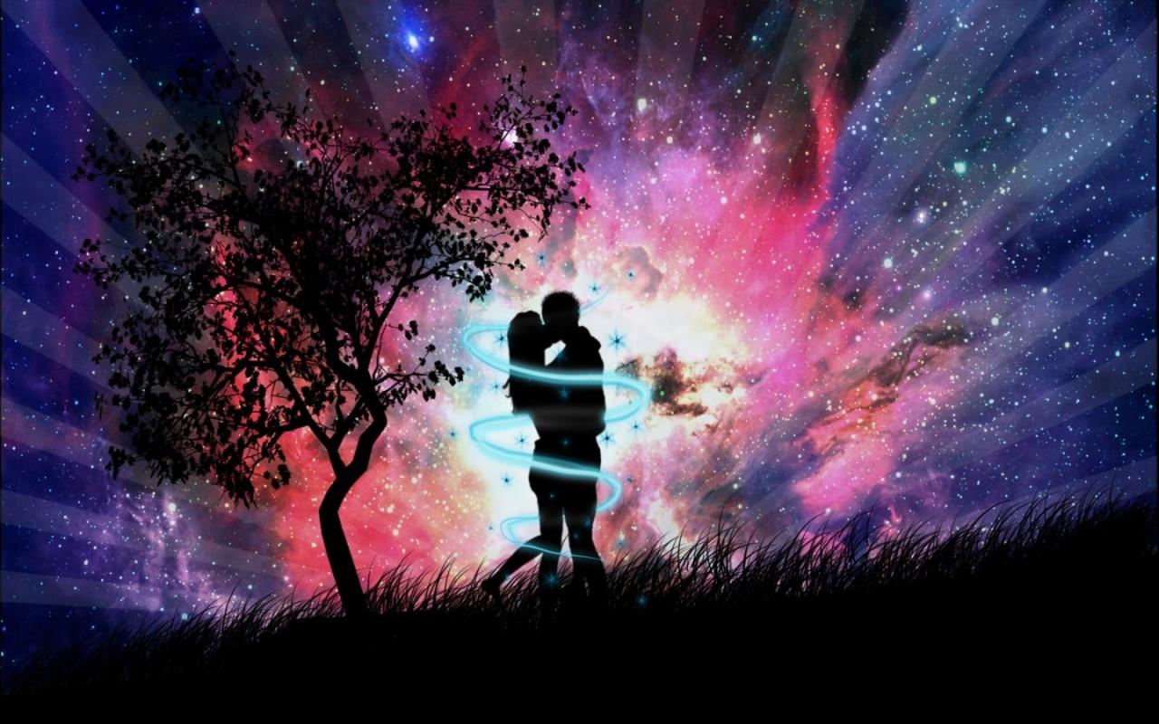 1280x800 Night couple kissing desktop PC and Mac wallpaper 1280x800
