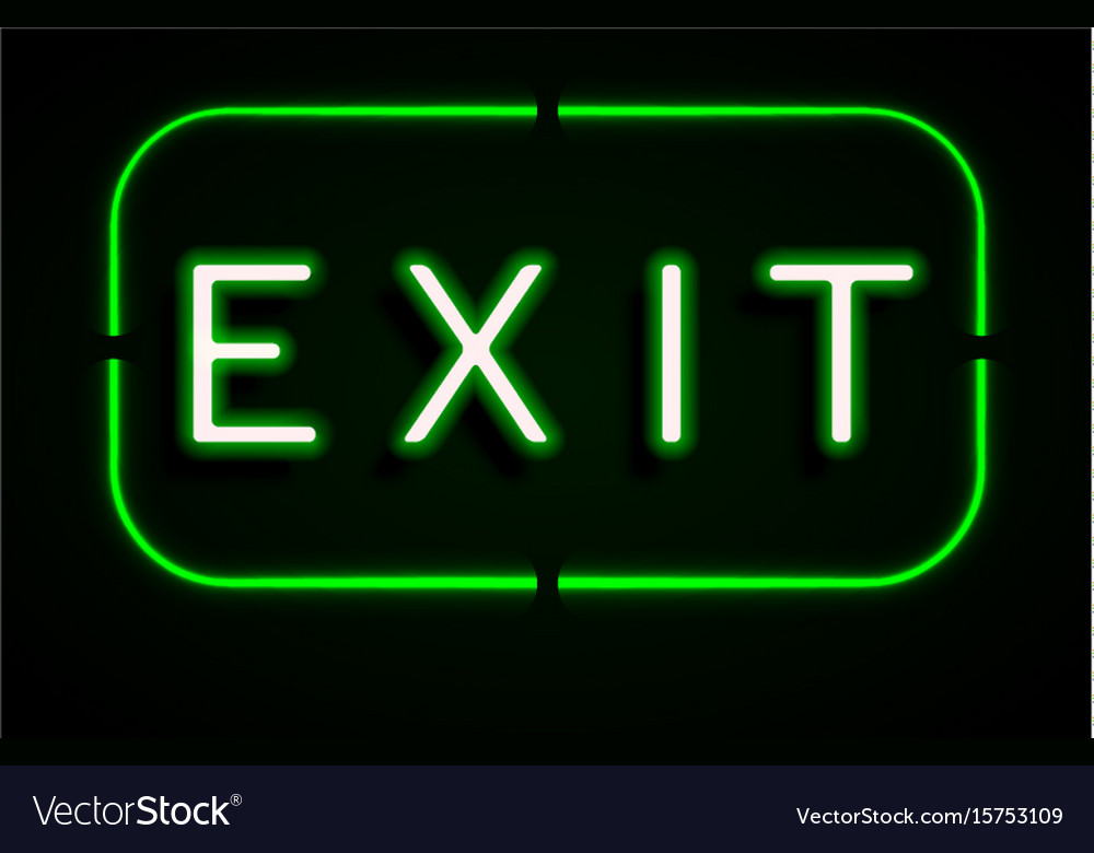 Neon banner on text exit background Royalty Vector 1000x780