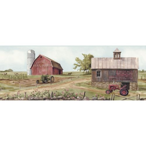 Wallpaper Border Country Farm Red Barn Old Schoolhouse Green Red Tr 500x500