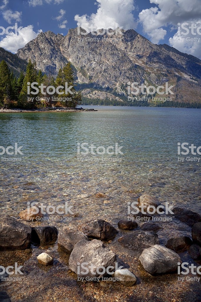 Rocky Shoreline Of Jenny Lake With Grand Tetons In Background 683x1024