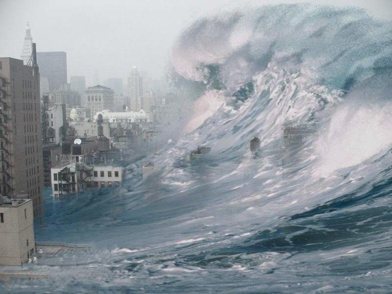 цунами картинки волна на город показать что