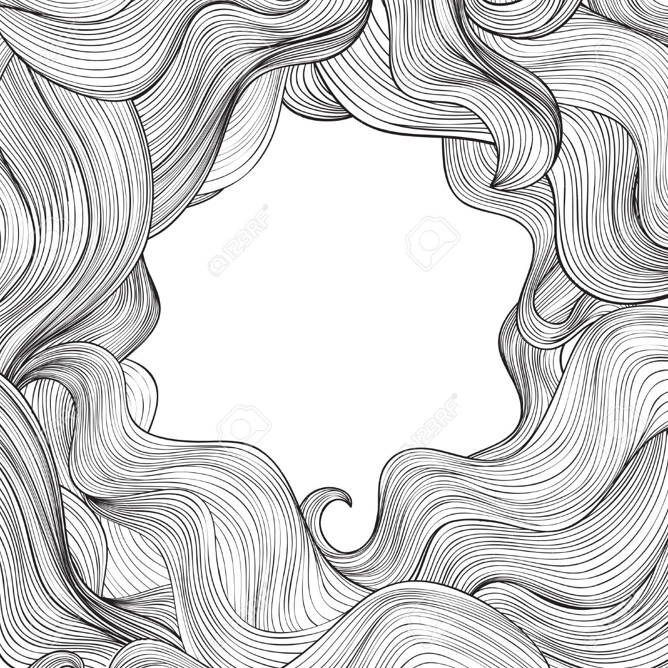 Abstract Wave Frame Background Hair Outline Background Wavy 1300x1300