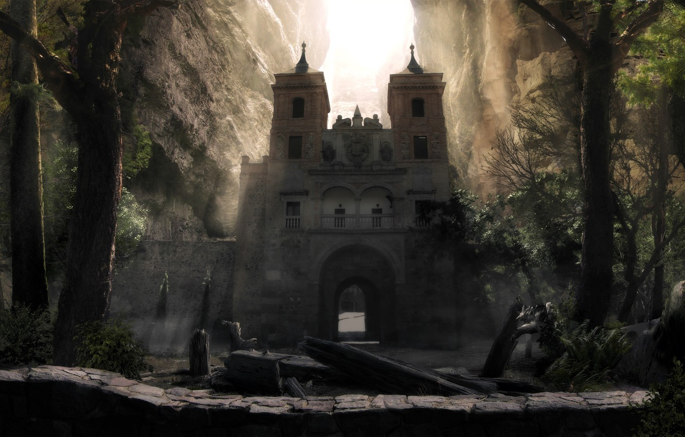 Wallpaper dark trees stone mountains fortress gate 1332x850