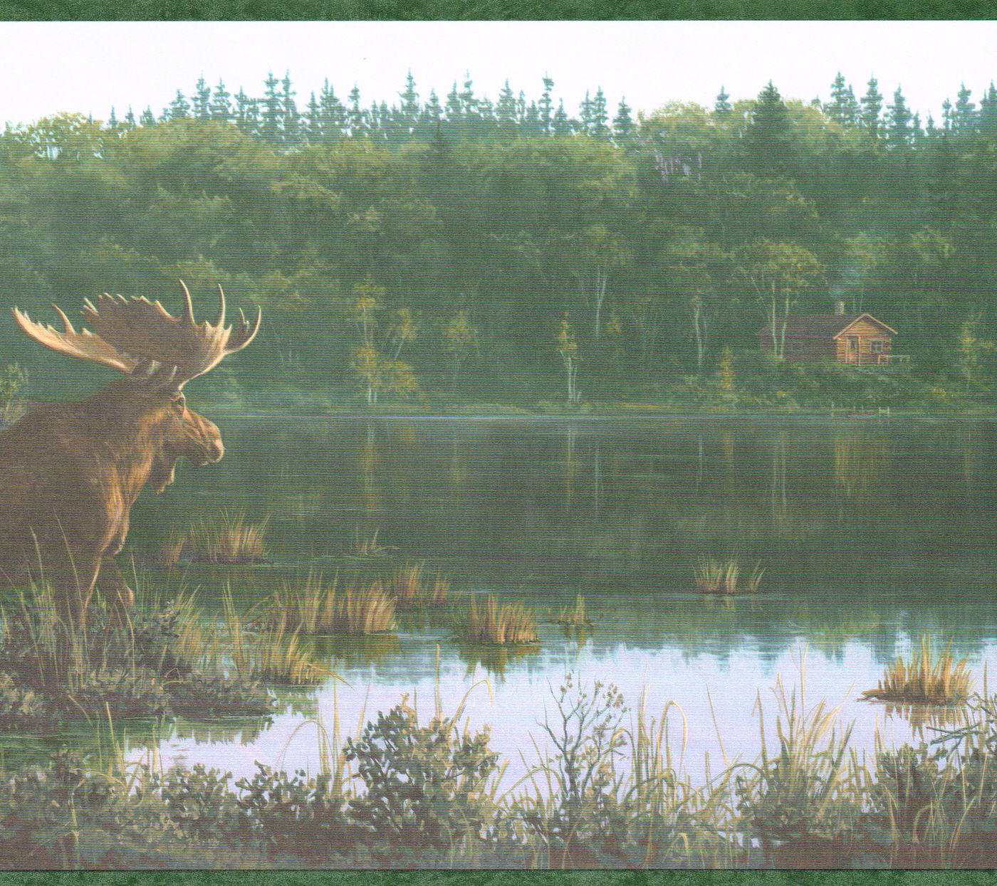 COUNTRY MOOSE AND CABIN ON THE LAKE 10 14 Wallpaper Wall bordeR 1400x1245