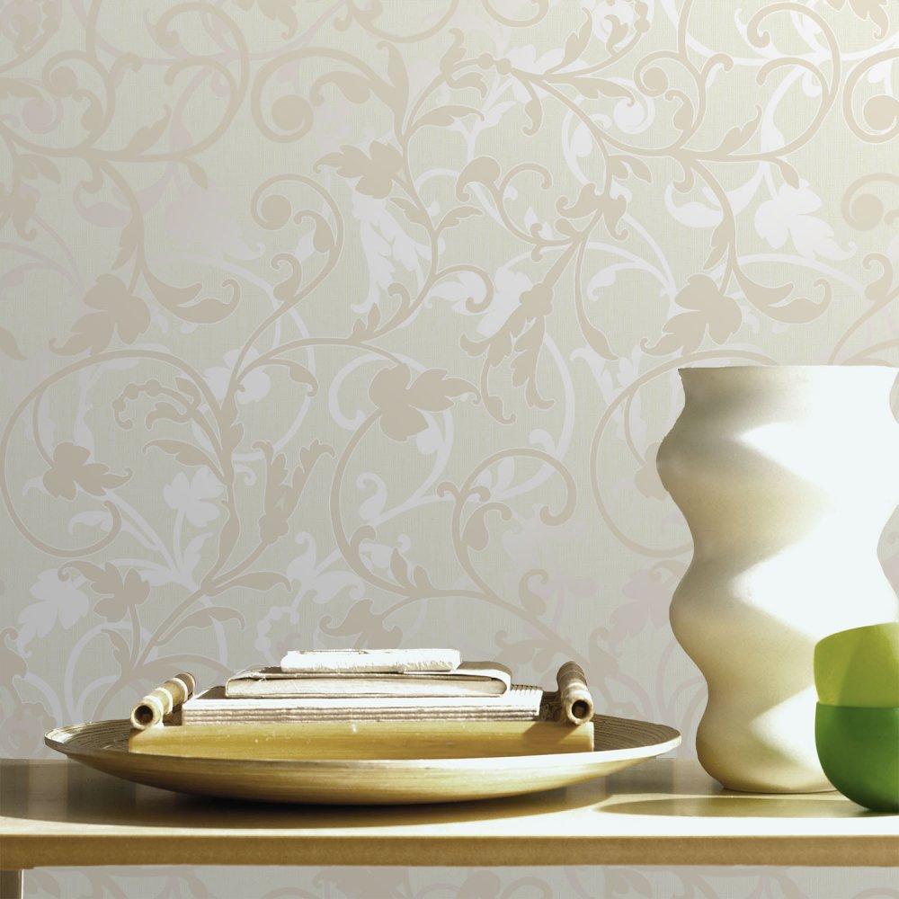 Home Wallpaper Crown Crown Arabesco Floral Wallpaper Cream 1000x1000