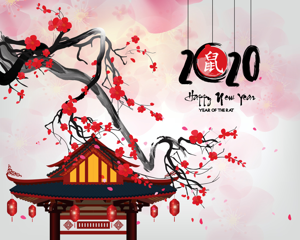 Happy chinese new year 2020 Zodiac sign year of the rat This 1000x800