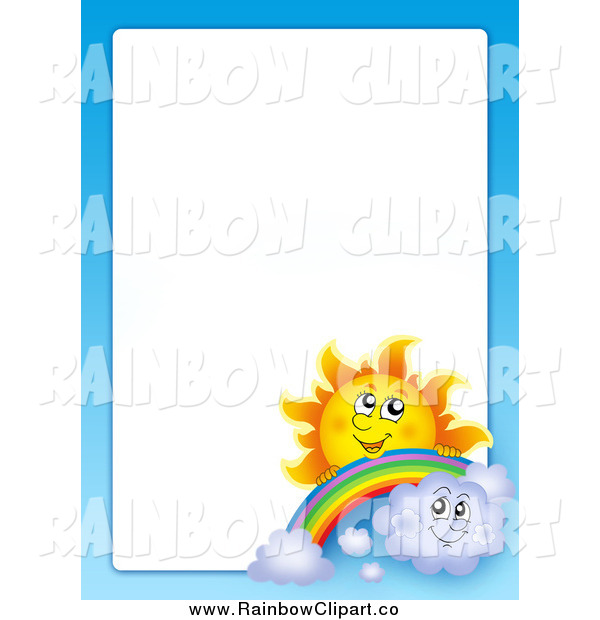Clip Art of a Sun Rainbow Clouds and Sky Border by visekart   683 600x620