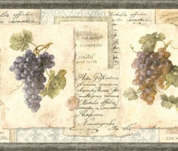 Wallpaper Border Old World Tuscan Grapes and Wine Labels eBay 730x620