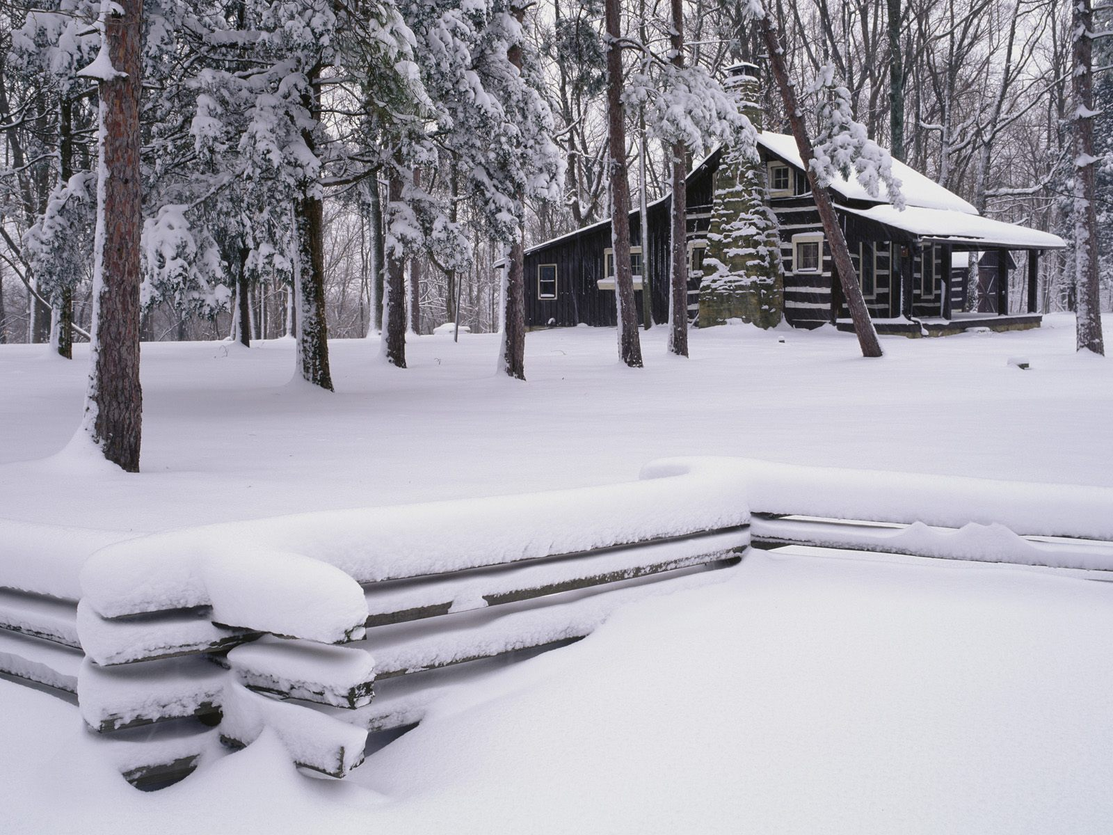 log cabin in the snow Wallpaper Background 38093 1600x1200