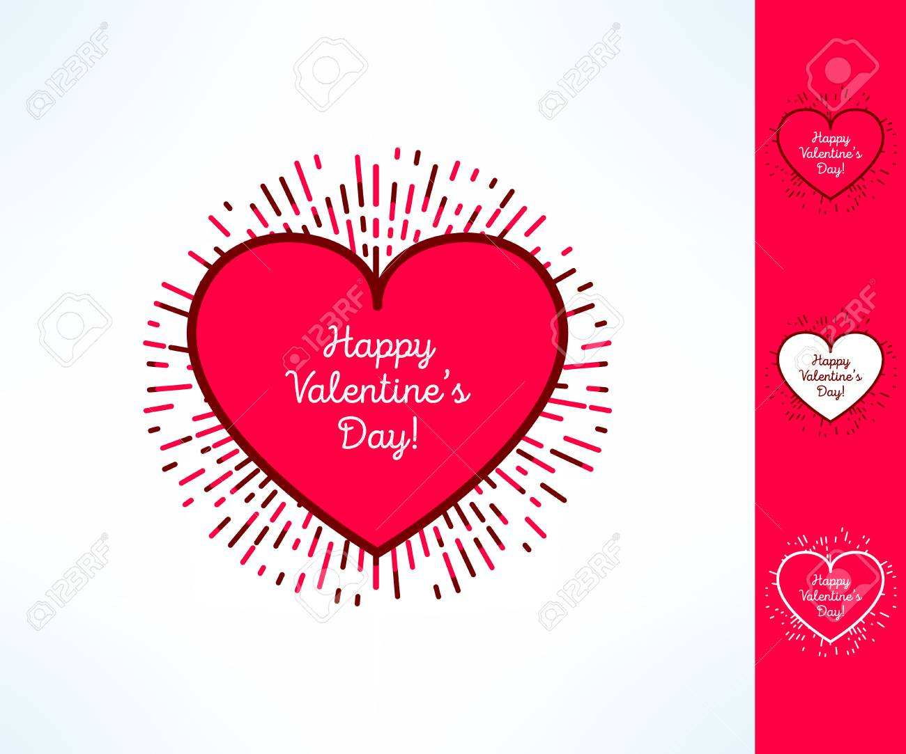 Set Of Vector Valentines Hearts On Tribal Outburst Background 1300x1083