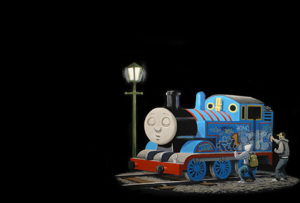 Wallpaper Banksy train graphics graffiti Thomas and Friends 590x400