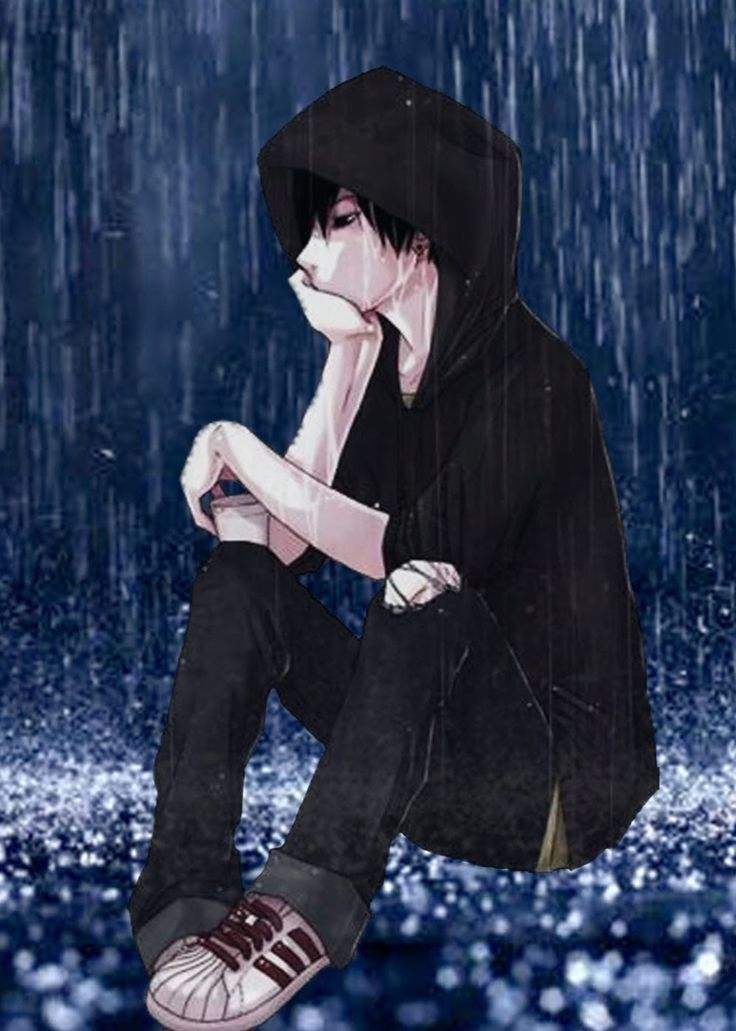 Image result for sad anime boy crying in the rain alone 736x1031