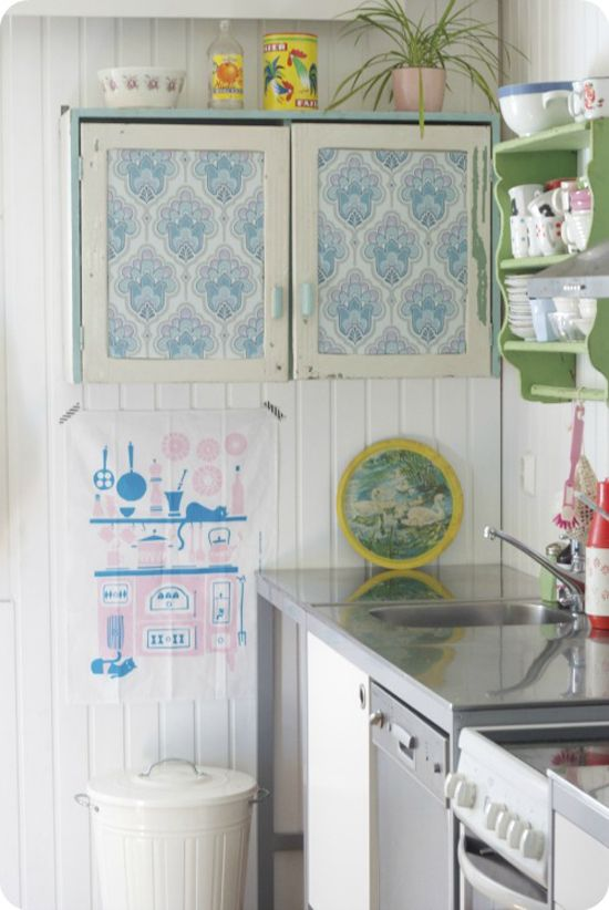 Wallpaper covered kitchen cabinets Home and Garden Pinterest 550x822