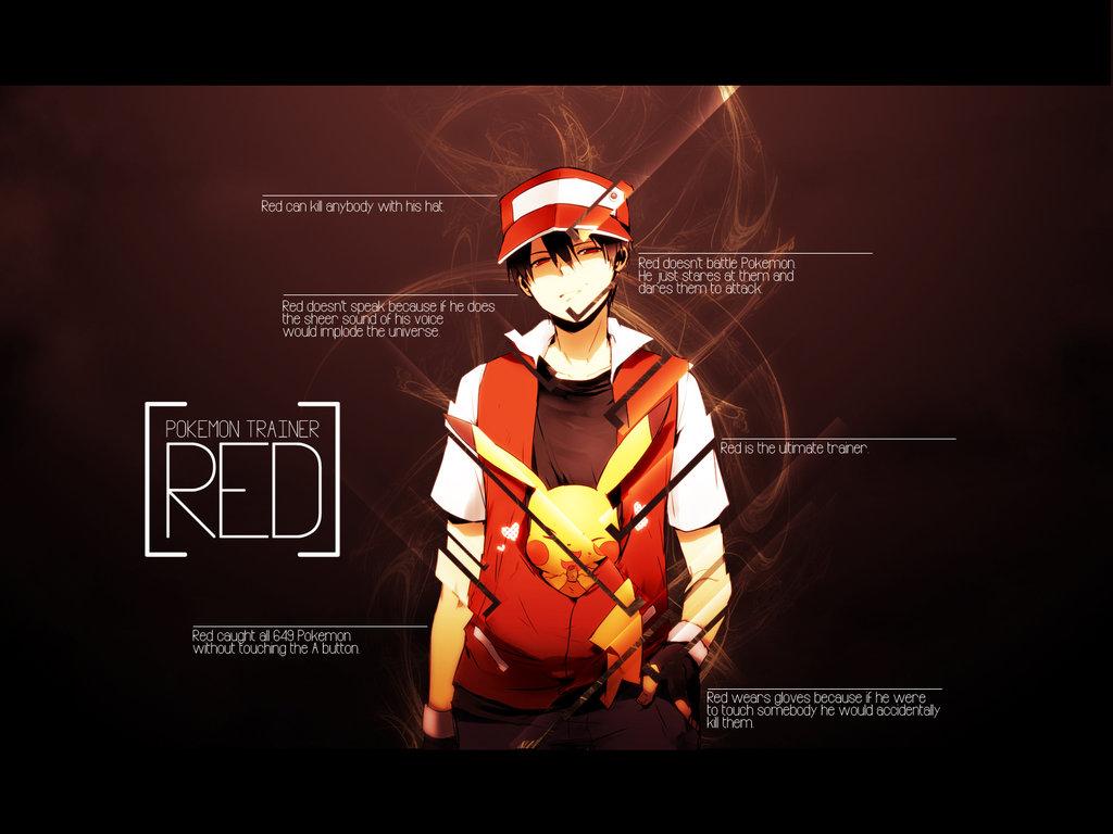 Pokemon Trainer Red Wallpaper 1024x768