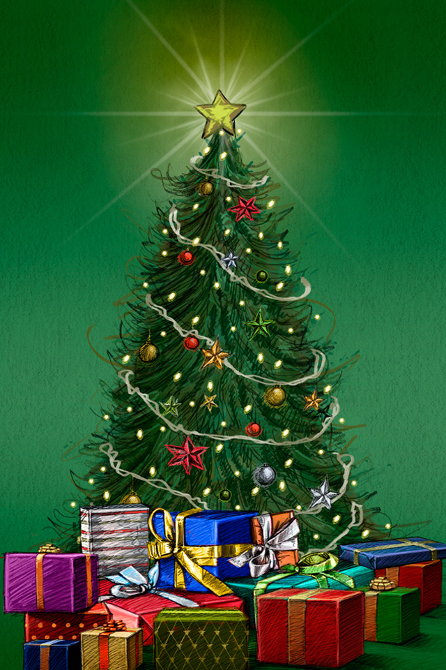 Green Christmas Tree Wallpaper Christmas tree iphone 4 640x960