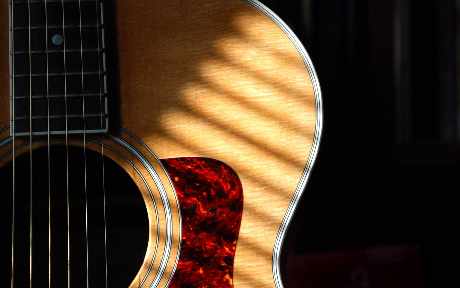 Guitar Wallpaper   Acoustic Guitar In Sunlight   Widescreen HD 1600x1000