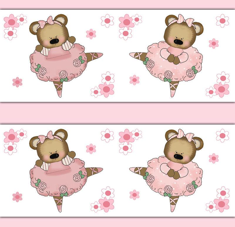 Pink Ballerina Teddy Bear Wallpaper Border Wall Art Decals Baby Girl 800x771