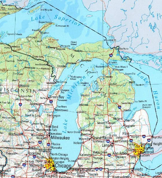 Michigan State Map michiganmaplargejpg 560x616