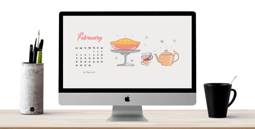 February 2018 wallpaper calendar desktop background 870x440