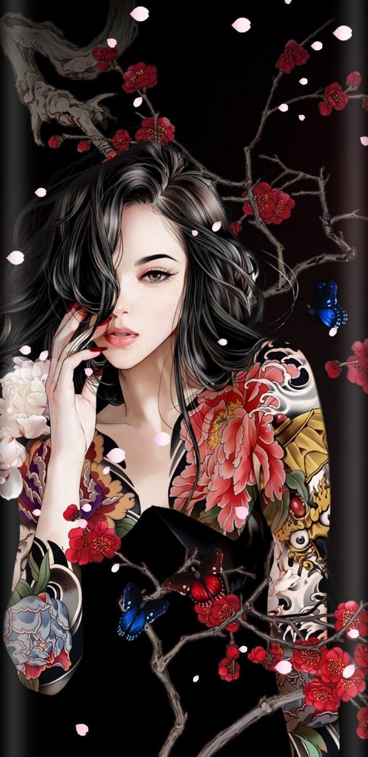 Wallpaper lockscreen Iphone android Yakuza girl Geisha art 720x1479