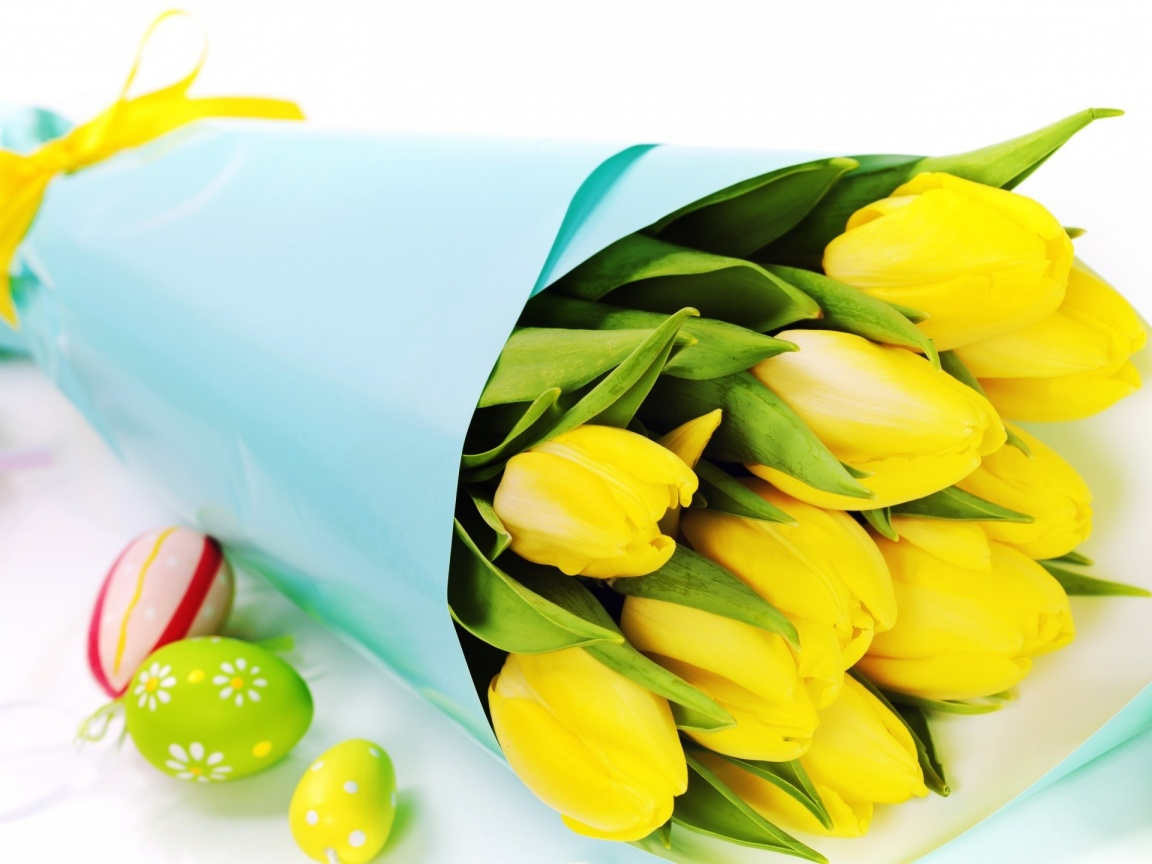 url wallpaperstock net yellow tulips and easter eggs Car Pictures 1152x864