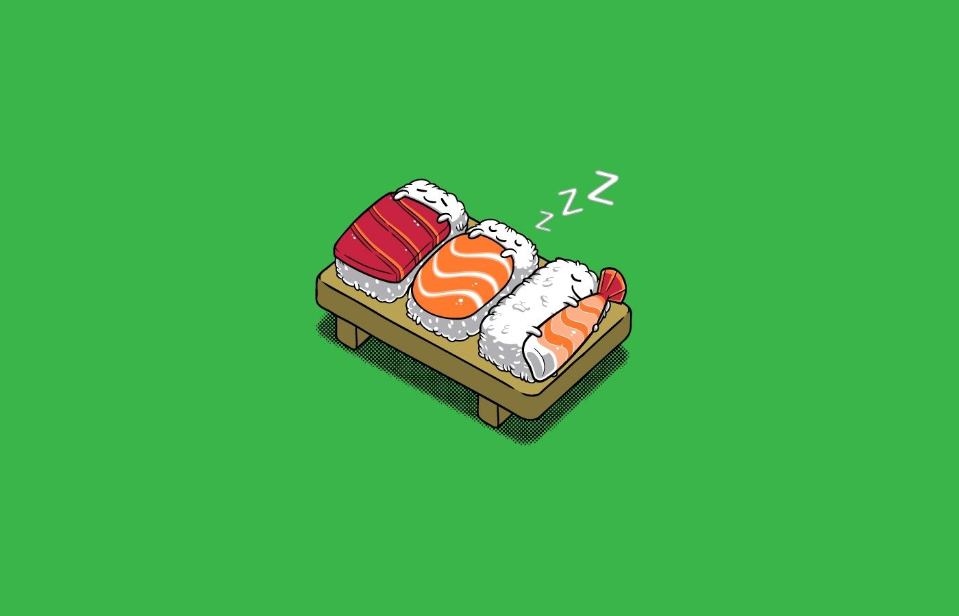 Sleeping sushi 1400 x 900 Cool art Sushi cat Funny phone 1400x900