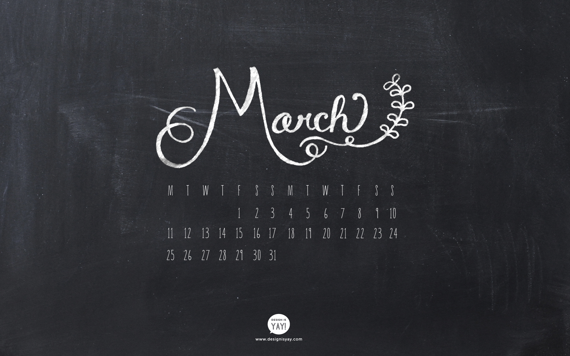 Desktop Wallpaper Calendar March 2013   Design Is Yay 1856x1161