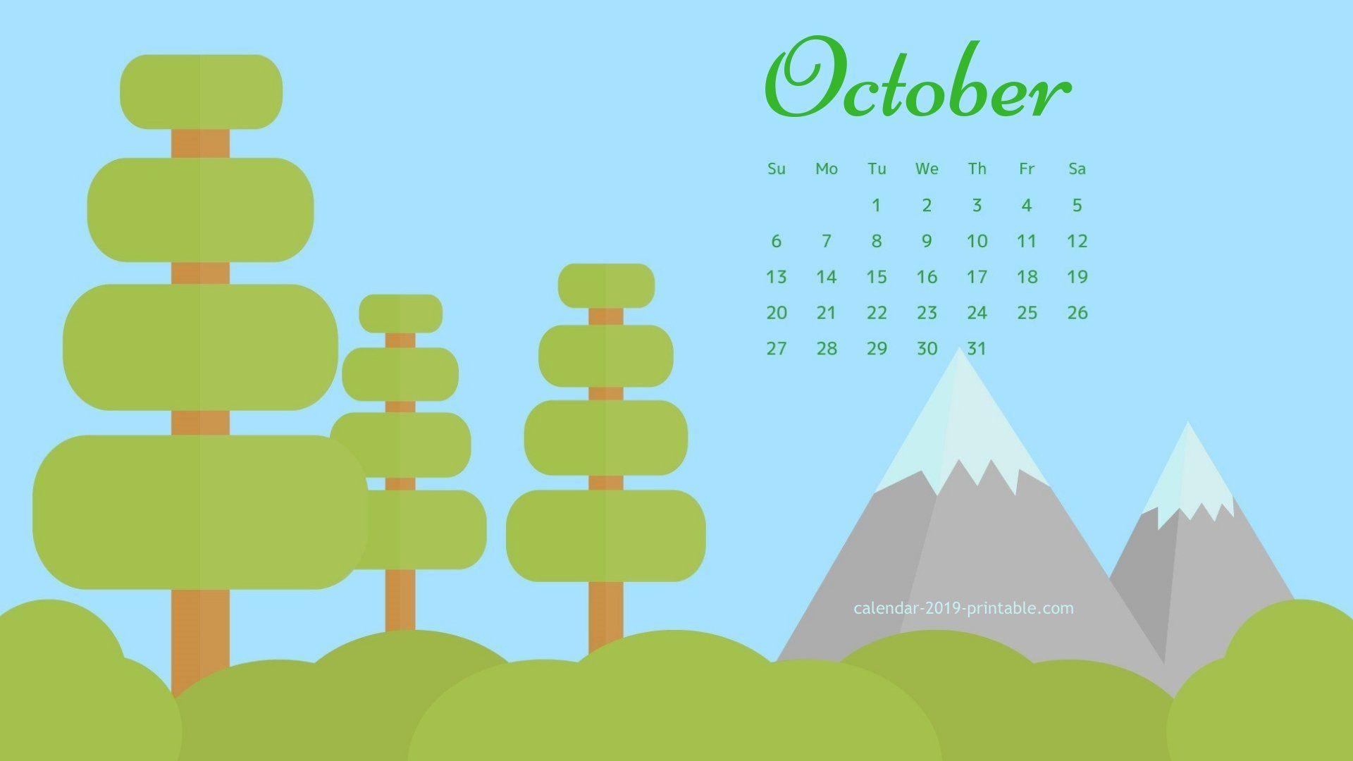 october 2019 calendar nature wallpaper Calendar 2019 Wallpapers 1920x1080