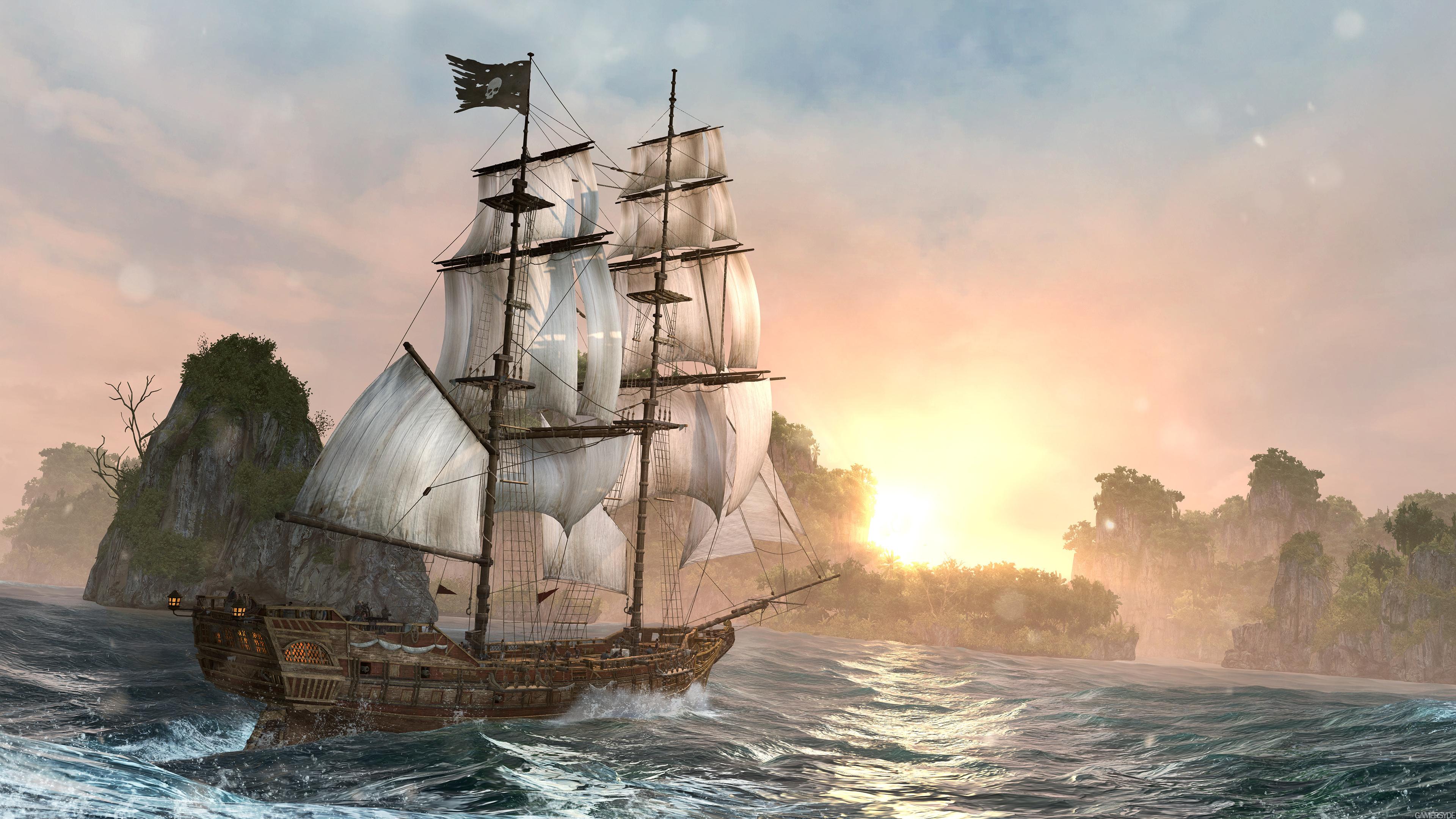 IV video game ship river hd sunrise ultrahd 4k wallpaper wallpaper 3840x2160
