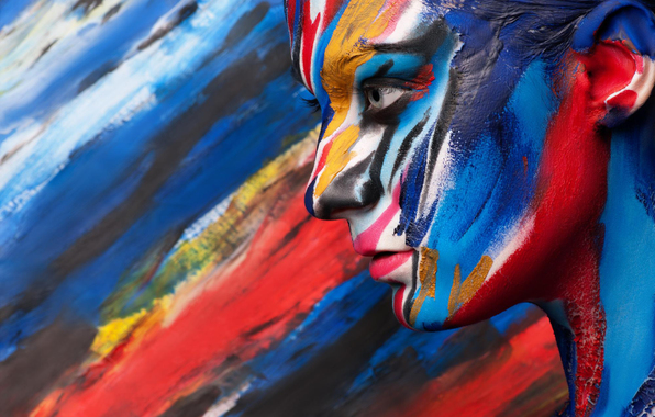 Wallpaper girl face profile paint body art wallpapers style 596x380