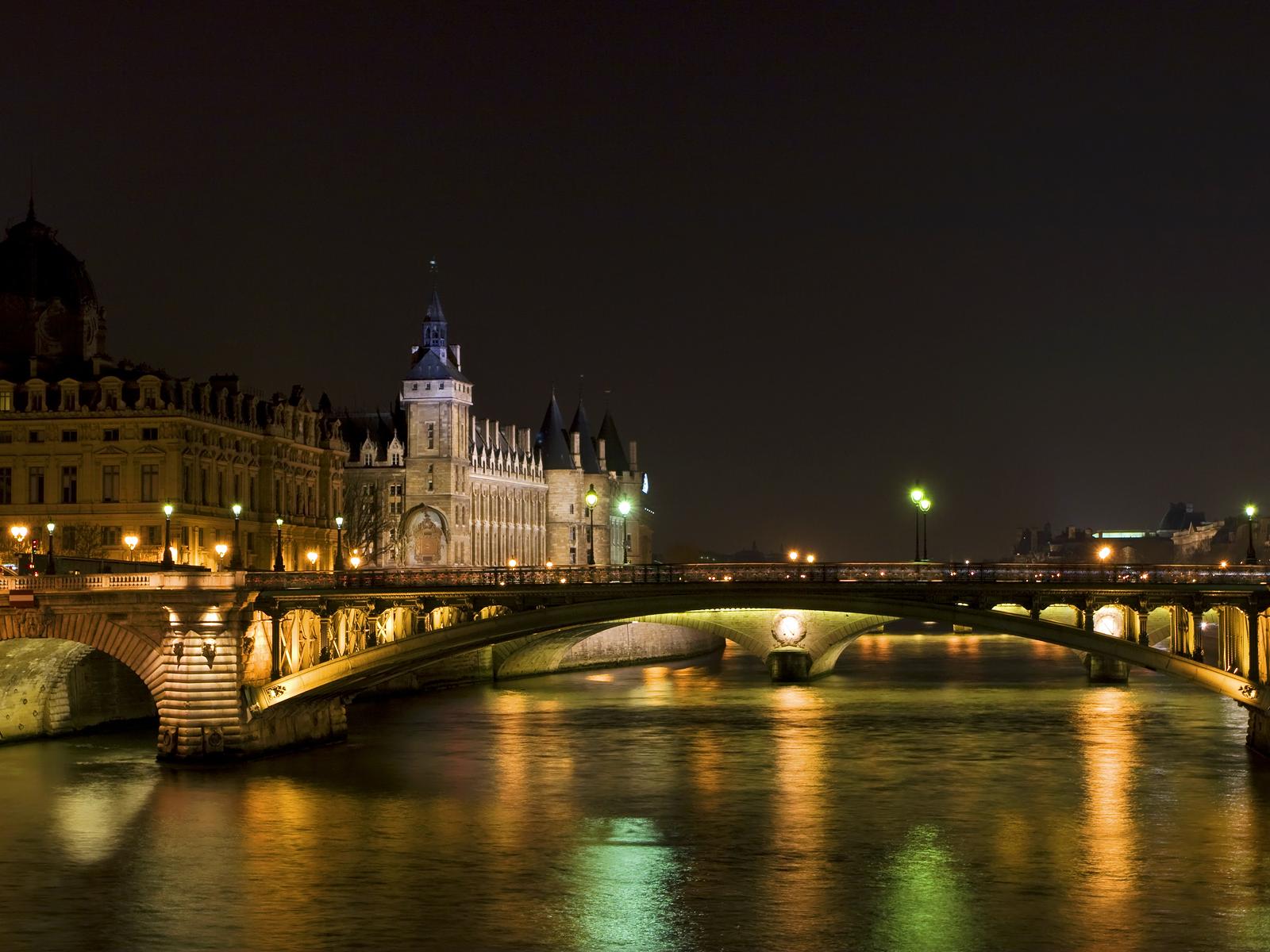 paris bridge at night wallpaper inkbluesky 1600x1200