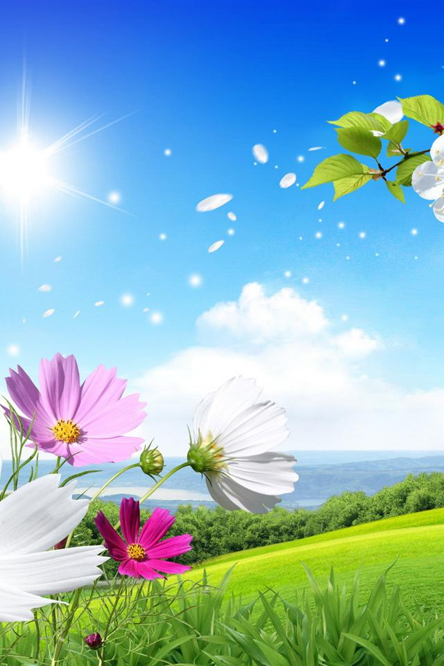 beautiful Summer and flowers scenery wallpaper iphone 4 wallpaper 640x960