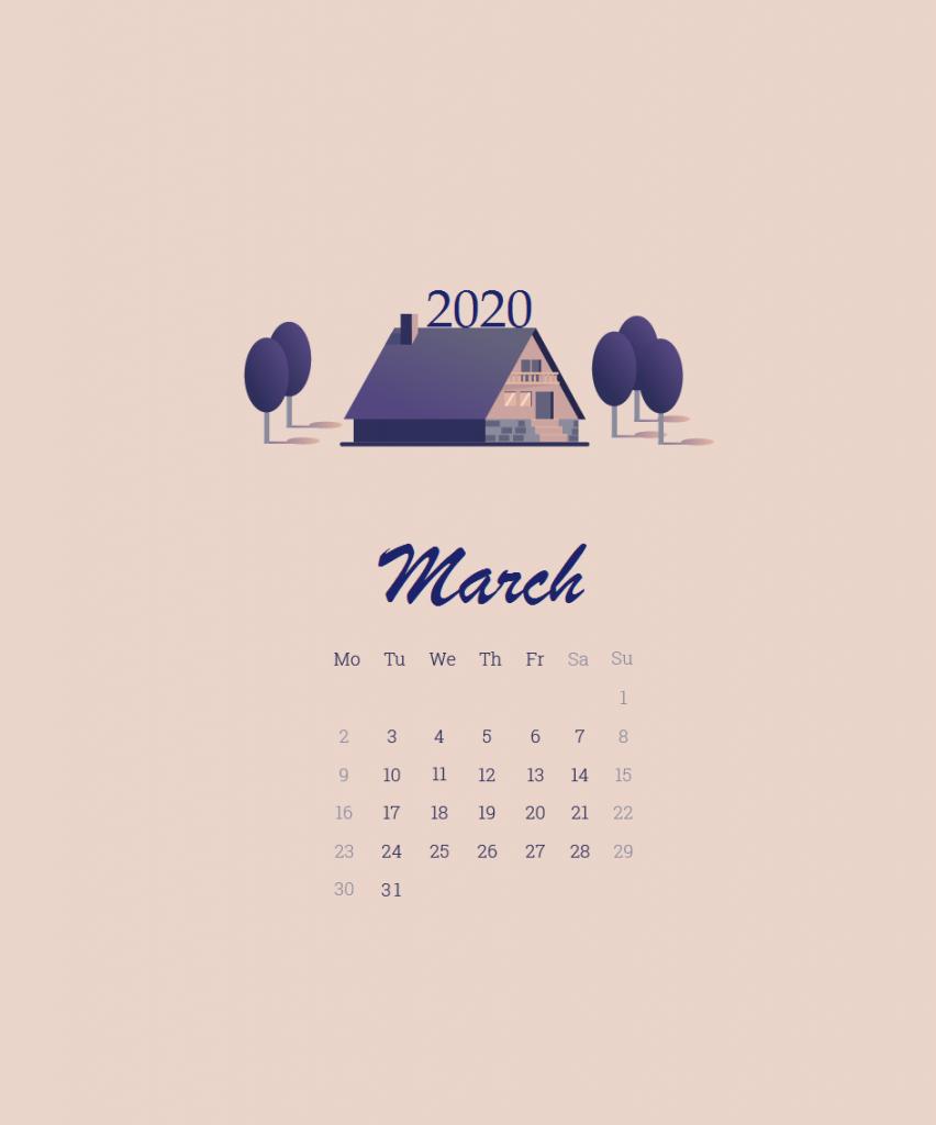 March 2020 Calendar Wallpaper For Desktop Laptop iPhone 852x1024