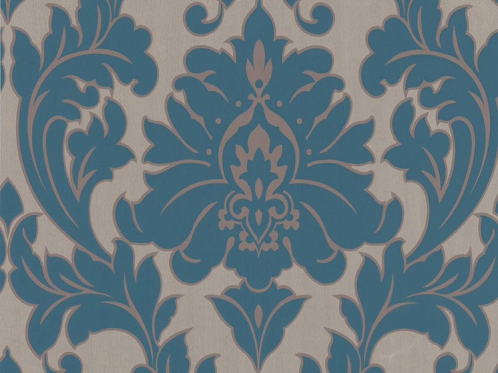 Free Download Delivery On Majestic Teal Gold Damask Wallpaper