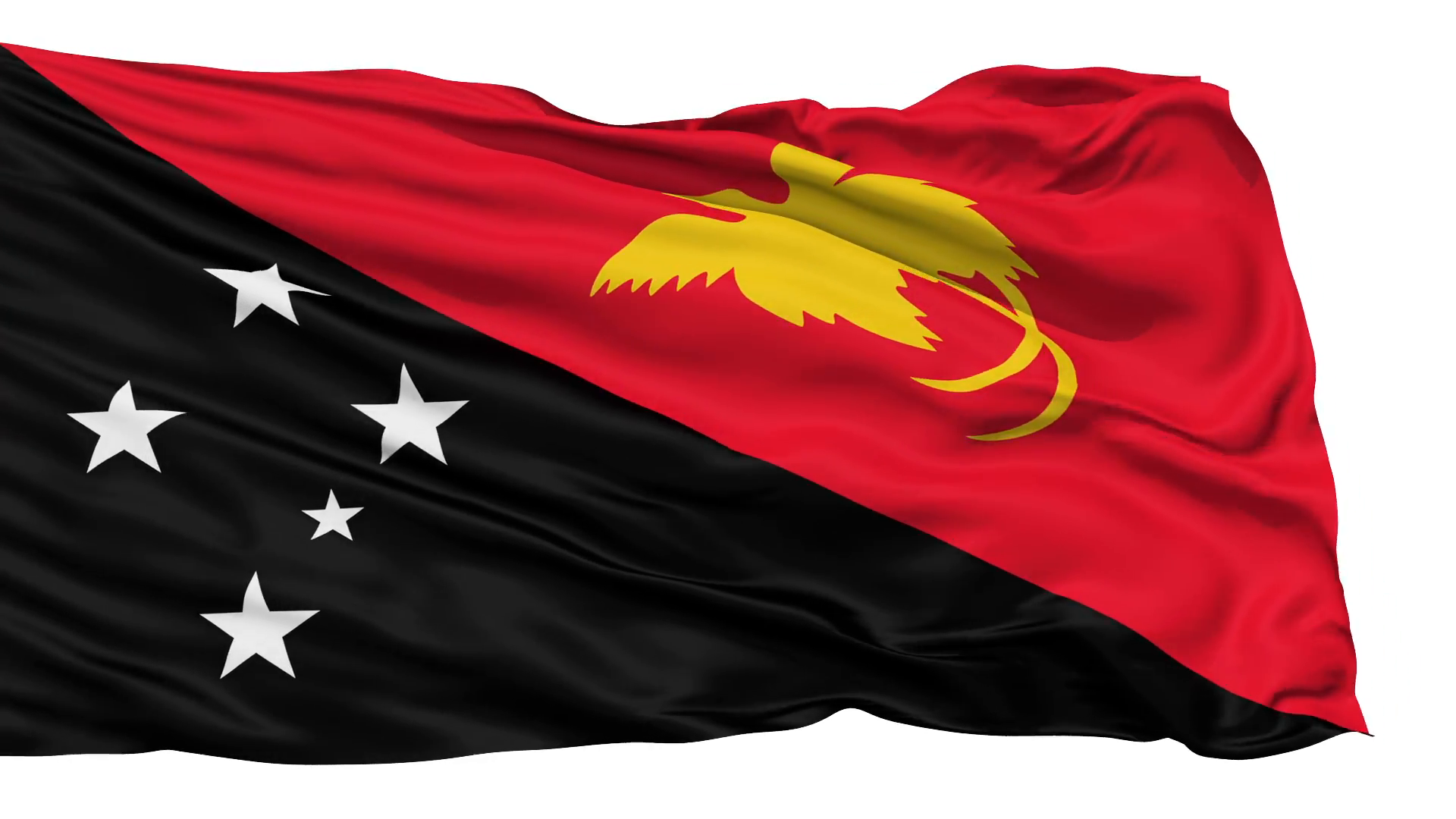 Waving national flag of Papua New Guinea Motion Background 1920x1080