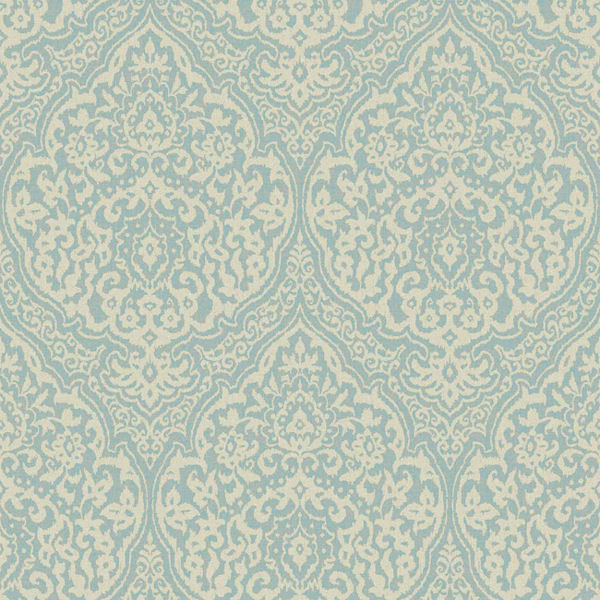 Blue and Cream Framed Damask Wallpaper   Wall Sticker Outlet 600x600