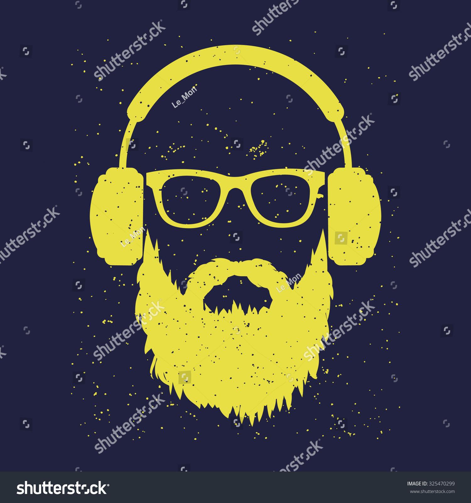 Man Beard Wearing Glasses Headphones Tshirt Stock Vector Royalty 1500x1600